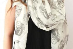 Sjaals met camera opdruk, 4 kleuren