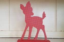Bambi rood met witte stippen