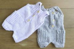 Newborn overalletje in lila of grijs