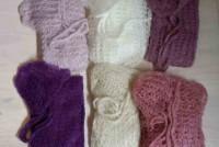 Set, opengebreide wrap met bonnet,  6 kleuren